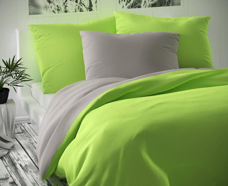 Saténové luxusní povlečení světle šedé se zelenou Kvalitex