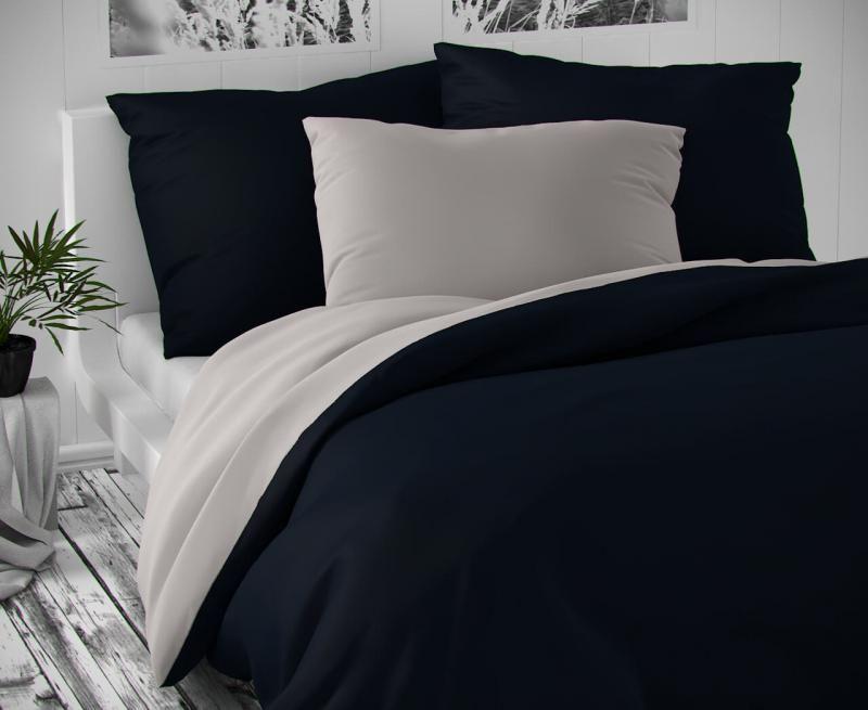 Saténové luxusní povlečení světle šedé s tmavě modrou Kvalitex