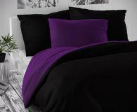 Černo tmavě fialové saténové povlečení