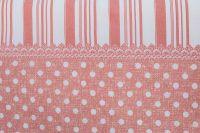 Krepové povlečení selského stylu růžové barvy s bílým puntíkem a po stranách s proužky český výrobce