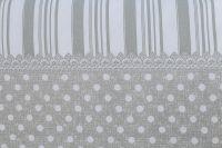 Povlečení selského stylu šedé barvy s motivem puntíků a po stranách proužky český výrobce