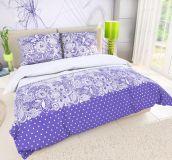 Kvalitní bavlněné povlečení fialové barvy se vzorem puntíků a květin Kvalitex