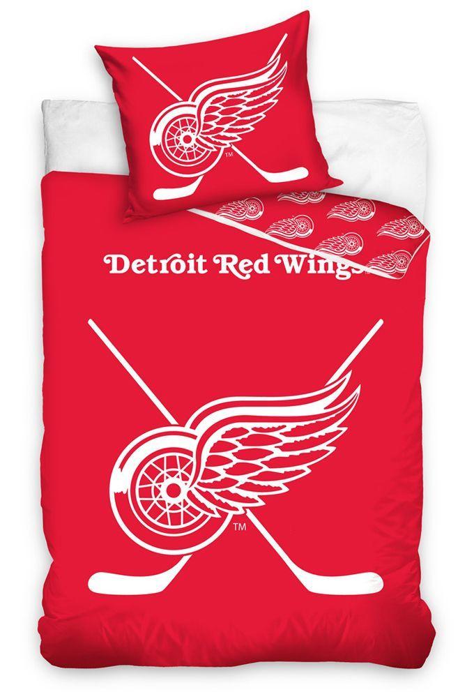 Bavlněné povlečení NHL Detroit Red Wings se svítícím logem na červeném podkladu Smolka