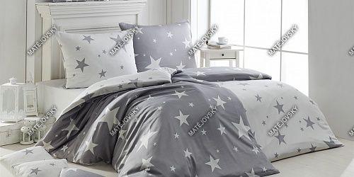 Flanelové povlečení se vzorem hvězd v šedé a bílé barvě Matějovský