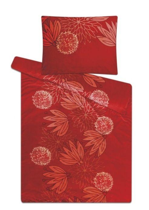 Mikroflanelové povlečení skořicové barvy s květy Svitap