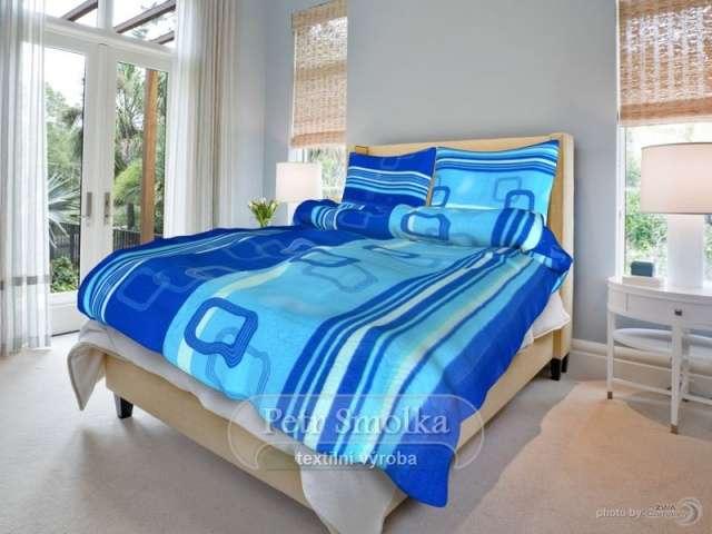 Bavlněné oboustanné ložní povlečení modré a světlé barvy - Tonda modrý 1x70/90, 1x140/200cm smolka