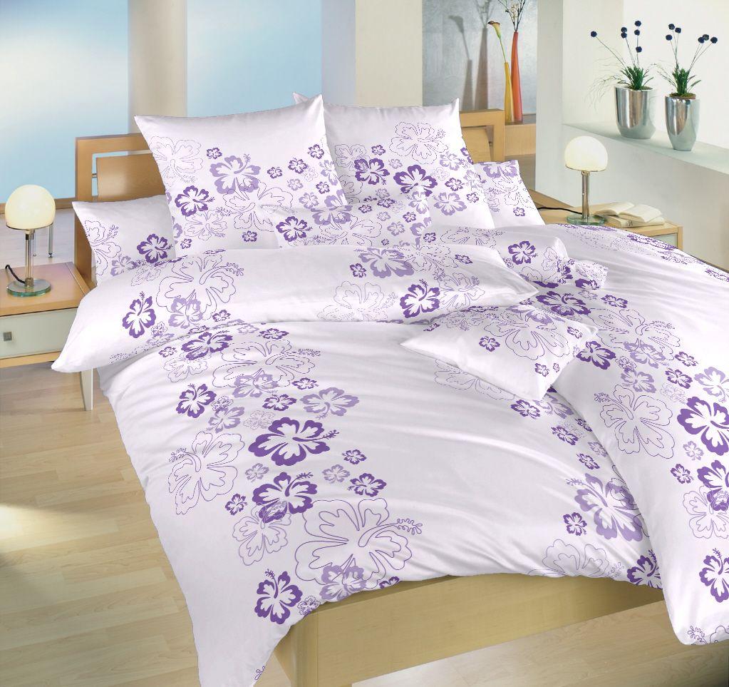 Bavlněné povlečení fialové barvy se vzorem květin Dadka