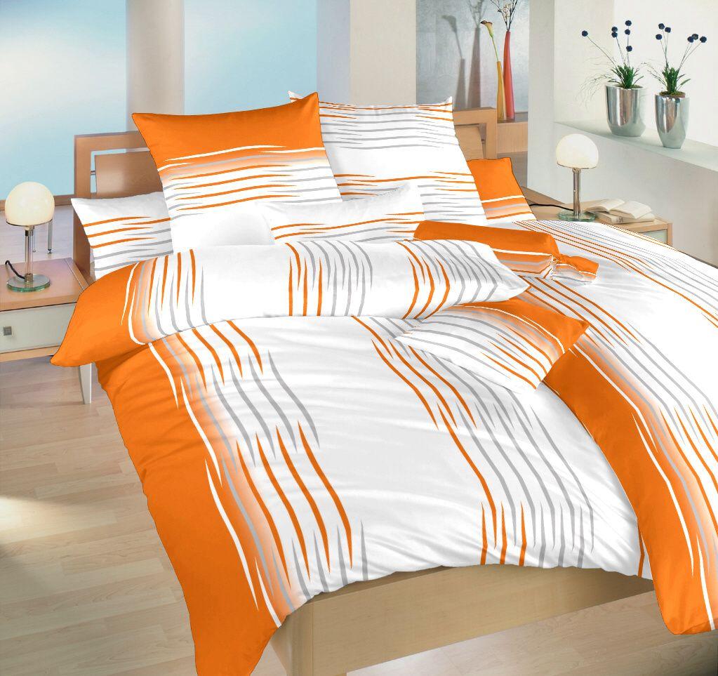Kvalitní bavlněné povlečení oranžové a bílé barvy s motivem menších vln Dadka