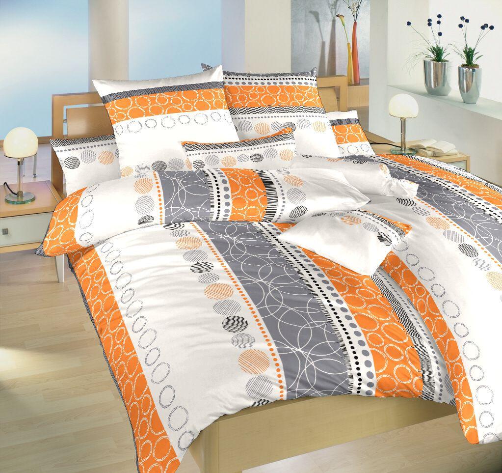 Krásné krepové povlečení oranžové a šedé barvy na bílém podkladu Dadka