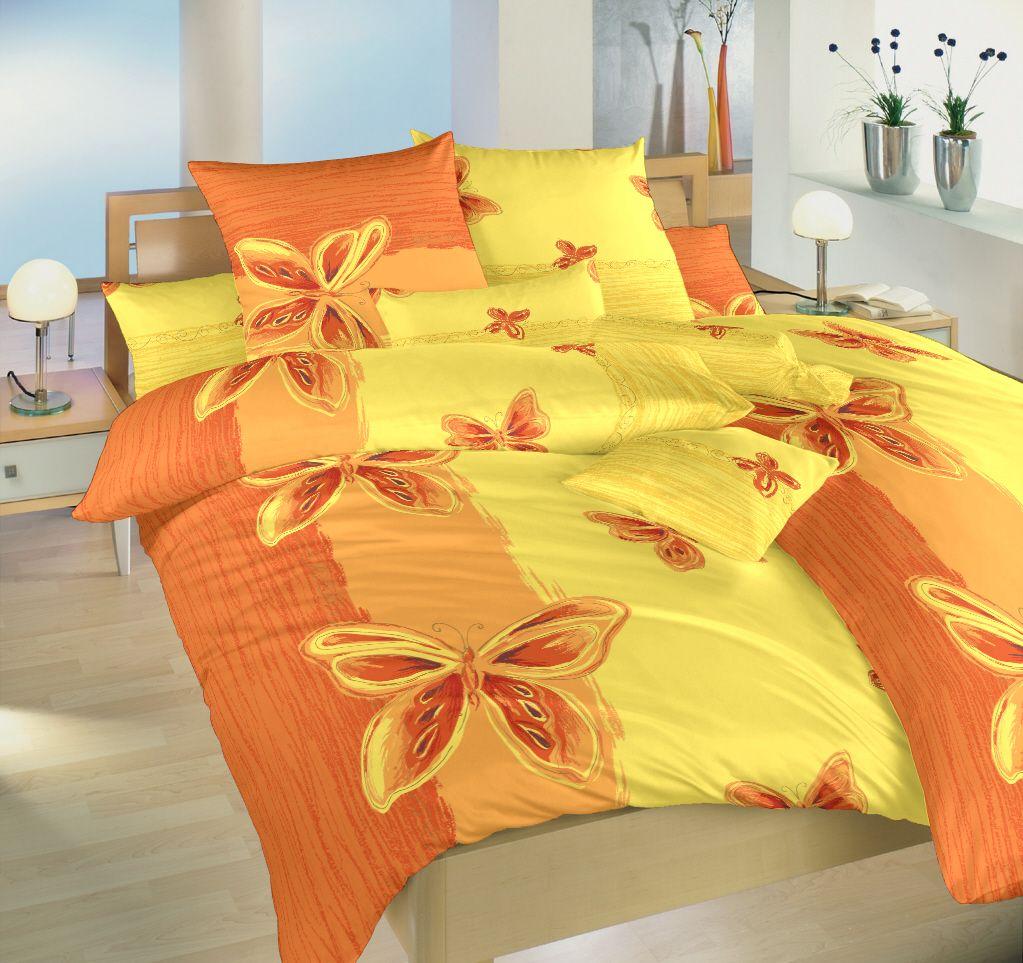 Krepové povlečení žluté a oranžové barvy s motivem motýlů Dadka