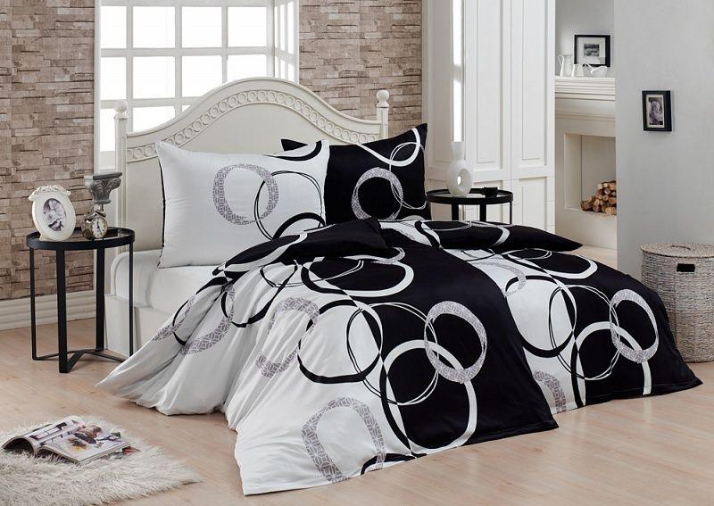 Kvalitní bavlněné povlečení v kombinaci černé,šedé a bíle s kruhy. Matějovský