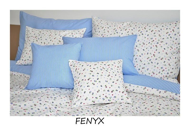 Kvalitní krepové povlečení s kytičkami a proužky v modro-bílé kombinaci Fitex
