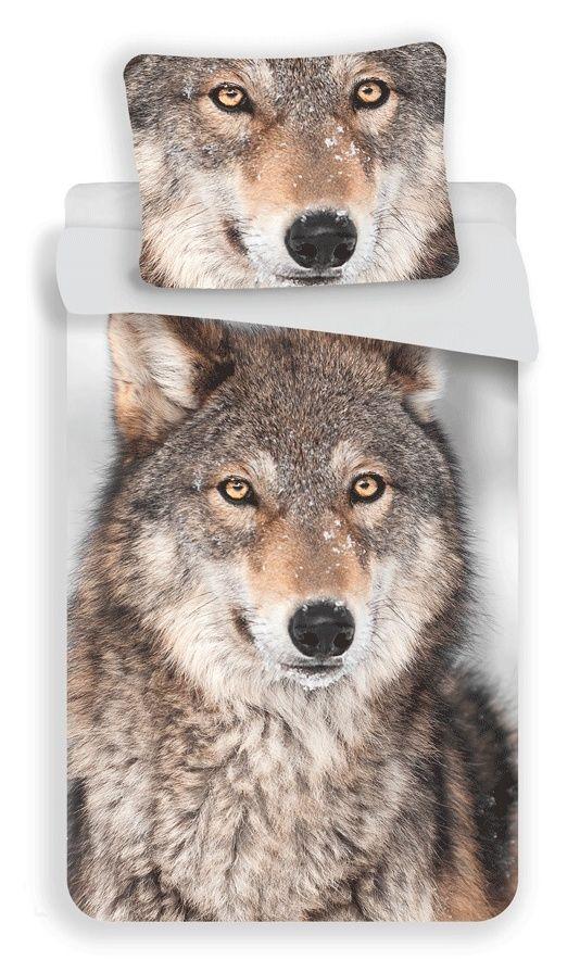 Bavlněné povlečení Vlk na šedém podkladu Jerry Fabrics