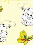 Povlečení krep do postýlky Pejsek s motýlem žluté