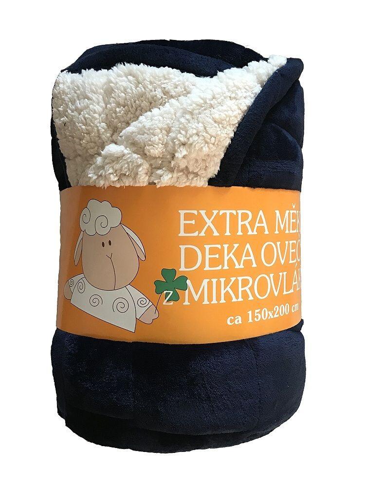 Hřejivá deka Ovečka tmavě modré barvy s imitací ovečky Svitap