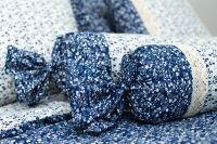 Povlak váleček VĚTVIČKY modro-bílé