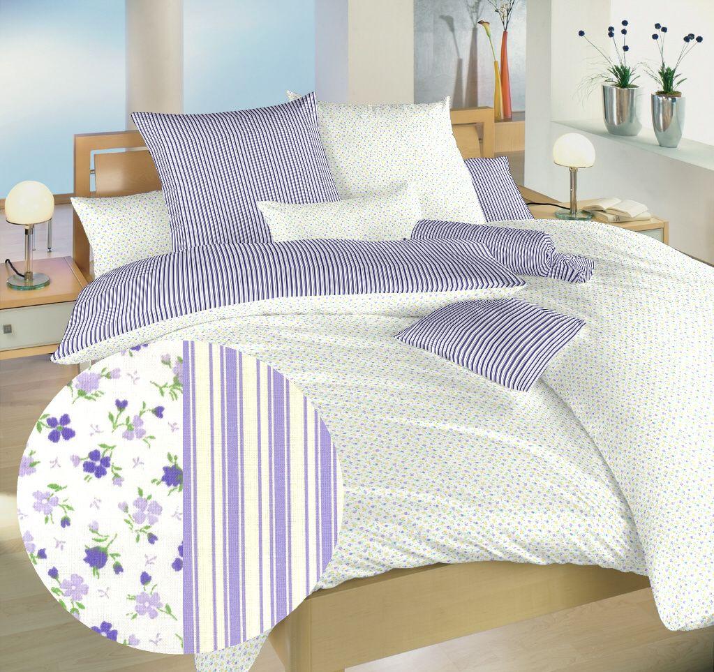 Bavlněné oboustranné povlečení v kombinaci kytiček a proužků bílé a fialové barvy Dadka