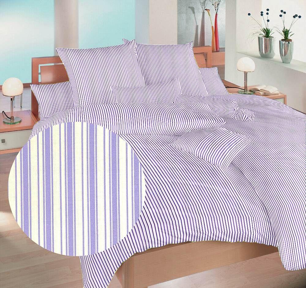 Bavlněné povlečení selského stylu bílé a fialové barvy s motivem proužků Dadka
