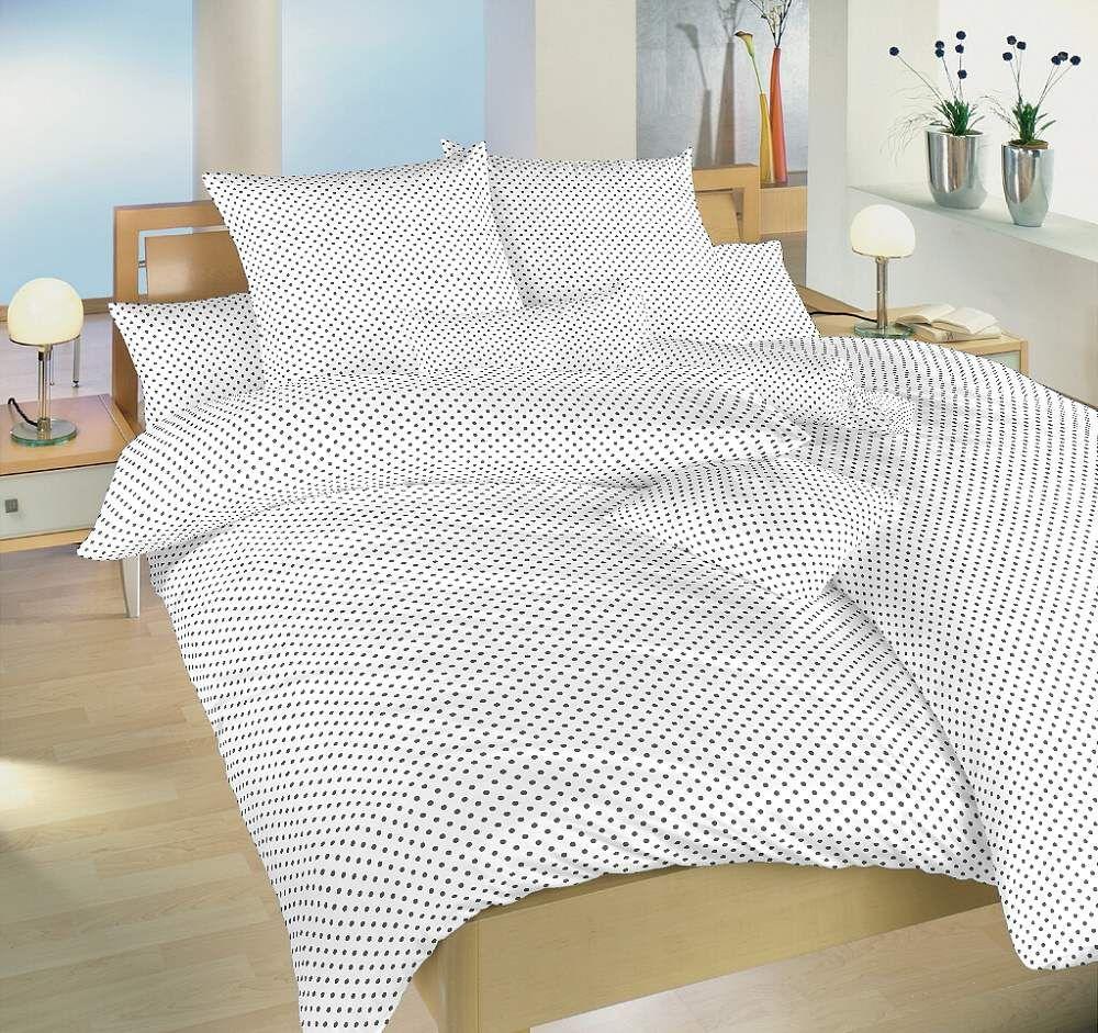 Bavlněné povlečení bílé barvy s šedými puntíky Dadka