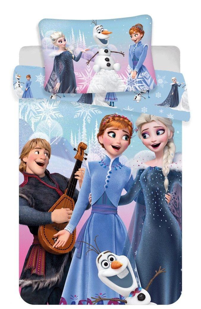 Povlečení Frozen, Ledové království na modrém podkladu Jerry Fabrics