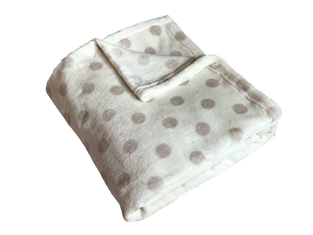 Heboučká soft deka banánové barvy s béžovým puntíkem Dadka