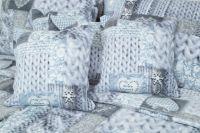 Luxusní povlečení z mikroflanelu v patchworkovém stylu s mmotivem srdce v barvě modrošedé