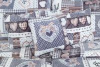 Luxusní povlečení z mikroflanelu v patchworkovém stylu se vzorem srdce v barvě šedé