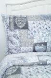 Luxusní povlečení z mikroflanelu v patchworkovém stylu se vzorem srdce v barvě šedohnědé