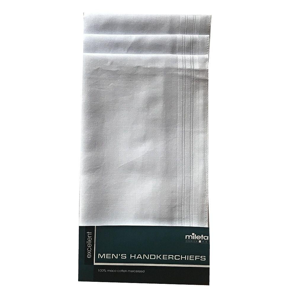 Pánské kapesníky Gere bílé, baleno po 6 kusech Mileta