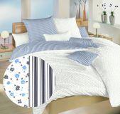 Povlečení bavlna Květinky/proužky modré 140x200, 70x90 cm II.jakost