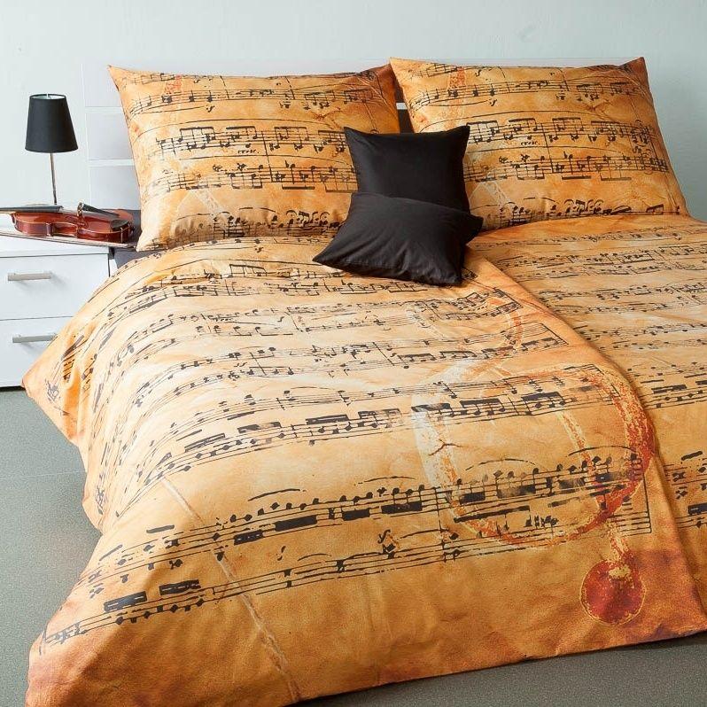 Luxusní damaškové povlečení s motivem hudebních not Geon Melodi Pergamen Veba