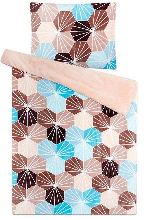 Mikroflanelové povlečení s mazaikových vzorem tyrkysové a béžové barvy Svitap