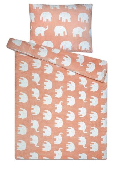 Hřejivé povlečení z mikroflanelu s motivem slonů na růžovém podkladu Svitap