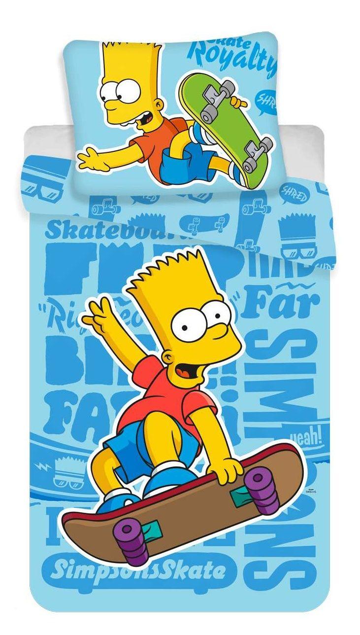 Bavlněné povlečení Bart modrý na skatu Jerry Fabrics