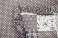Bavlněné povlečení Patchwork šedomodrý s kombinací drobného puntíku český výrobce