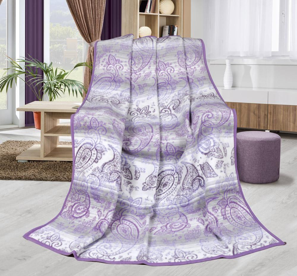 Hřejivá vzorovaná deka kašmír fialové barvy