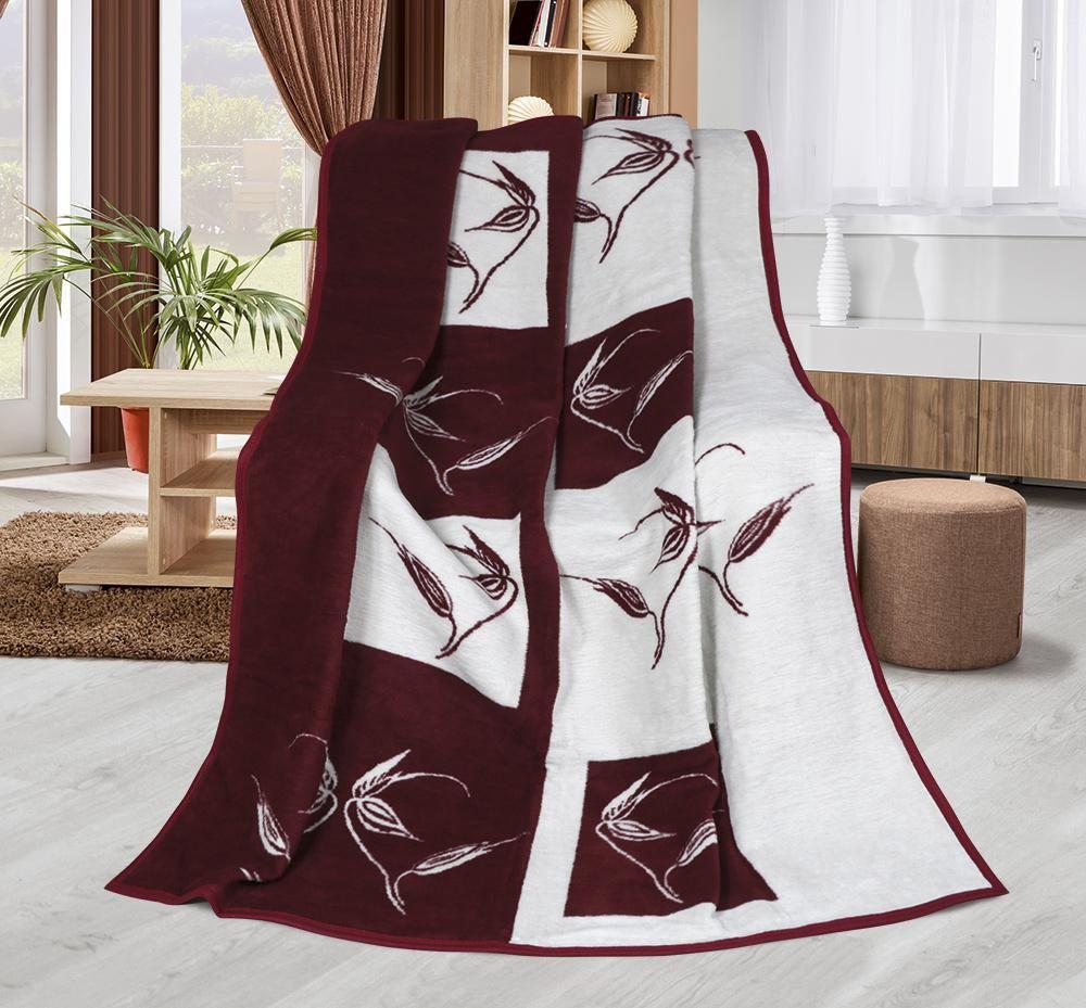 Hřejivá deka se vzorem rostlin vínové a smetanové barvy - Rostliny vínové