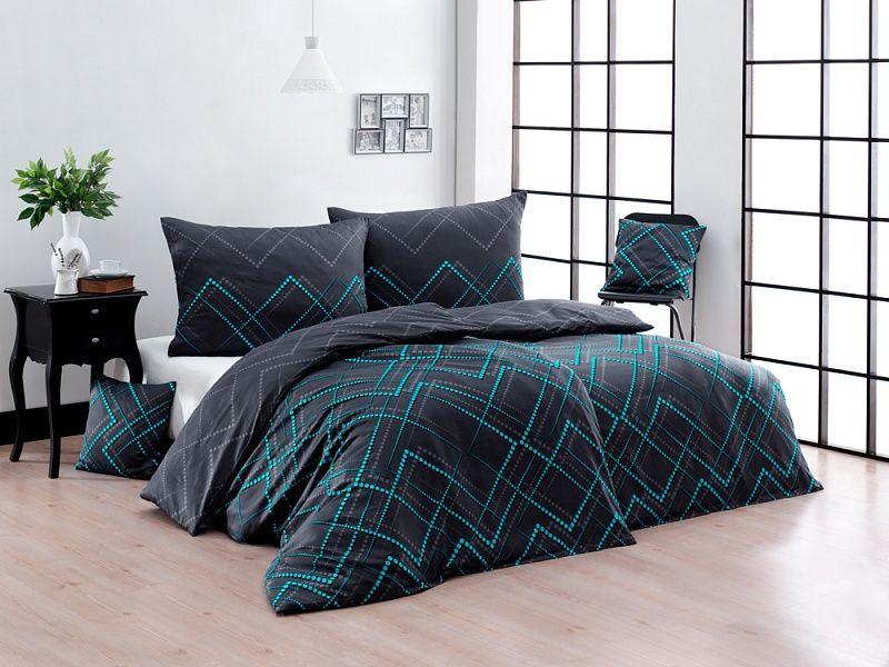 Kvalitní bavlněné povlečení v tmavě šedé barvě s tyrkysovými vzory Matějovský