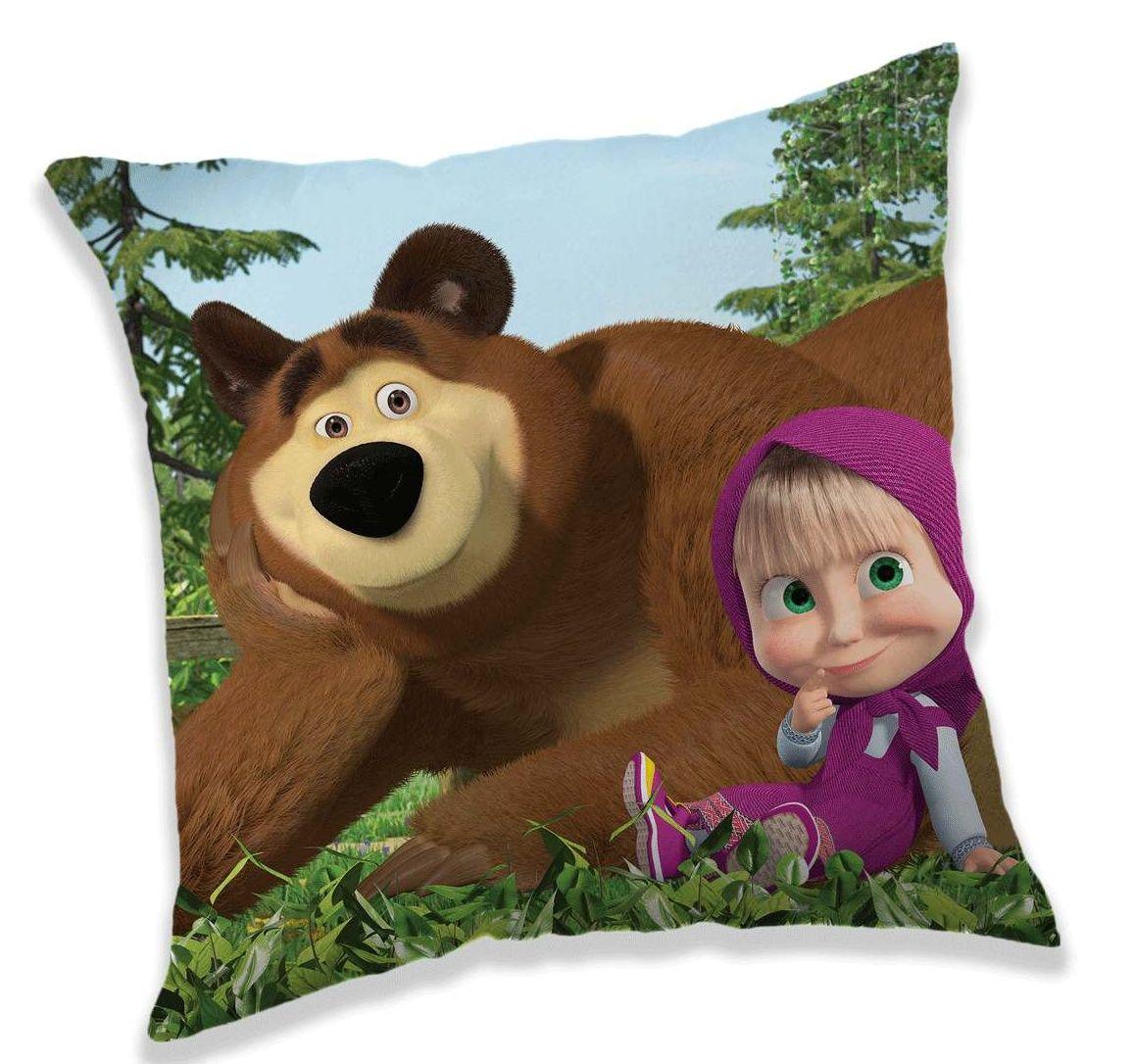 Povlak na polštář Máša a Medvěd na modrém podkladu Jerry Fabrics
