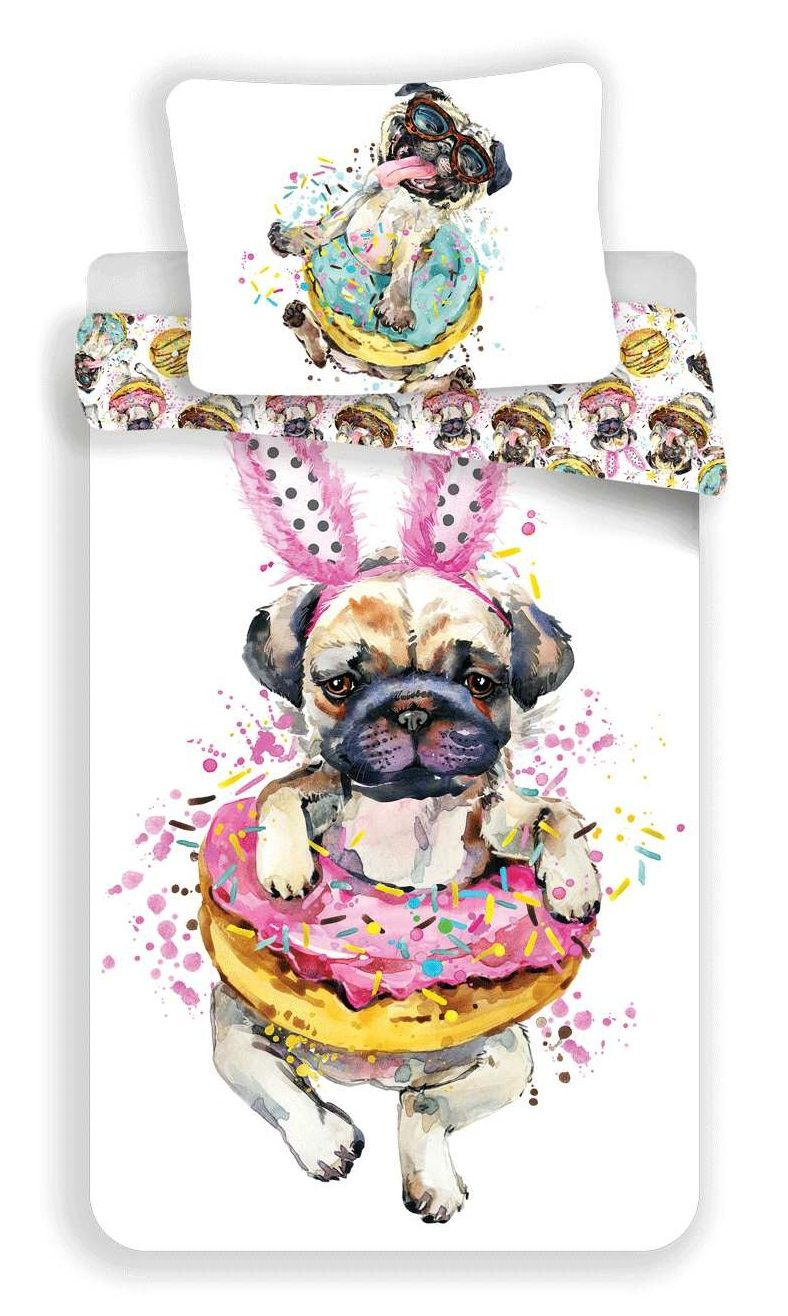 Bavlněné povlečení s motivem psa - Mops Jerry Fabrics