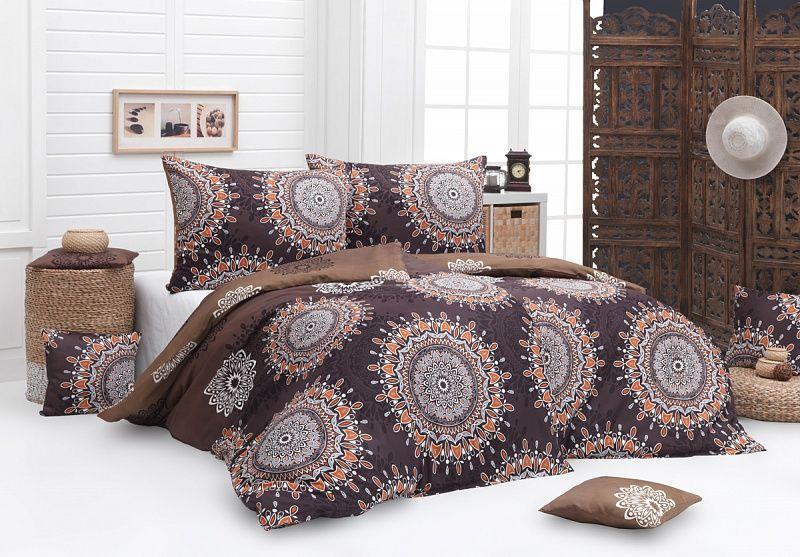 Kvalitní bavlněné povlečení Caramel s motivem mandal v hnědých barevných odstínech Matějovský