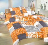 Saténové povlečení oranžové barvy se vzorem čtverců v kombinaci květin Dadka