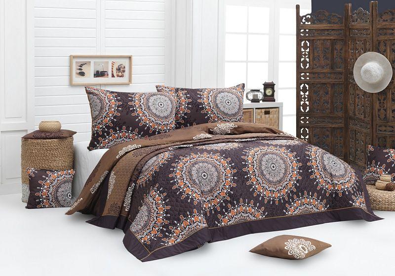 Přehoz Caramel se vzory mandal v čokoládových odstínech. Matějovský