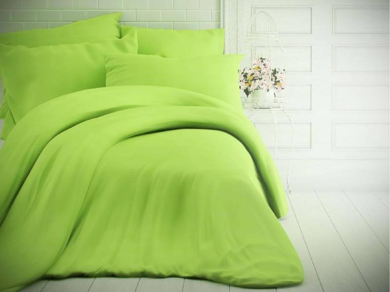 Světle zelené jednobarevné bavlněné povlečení české výroby Kvalitex