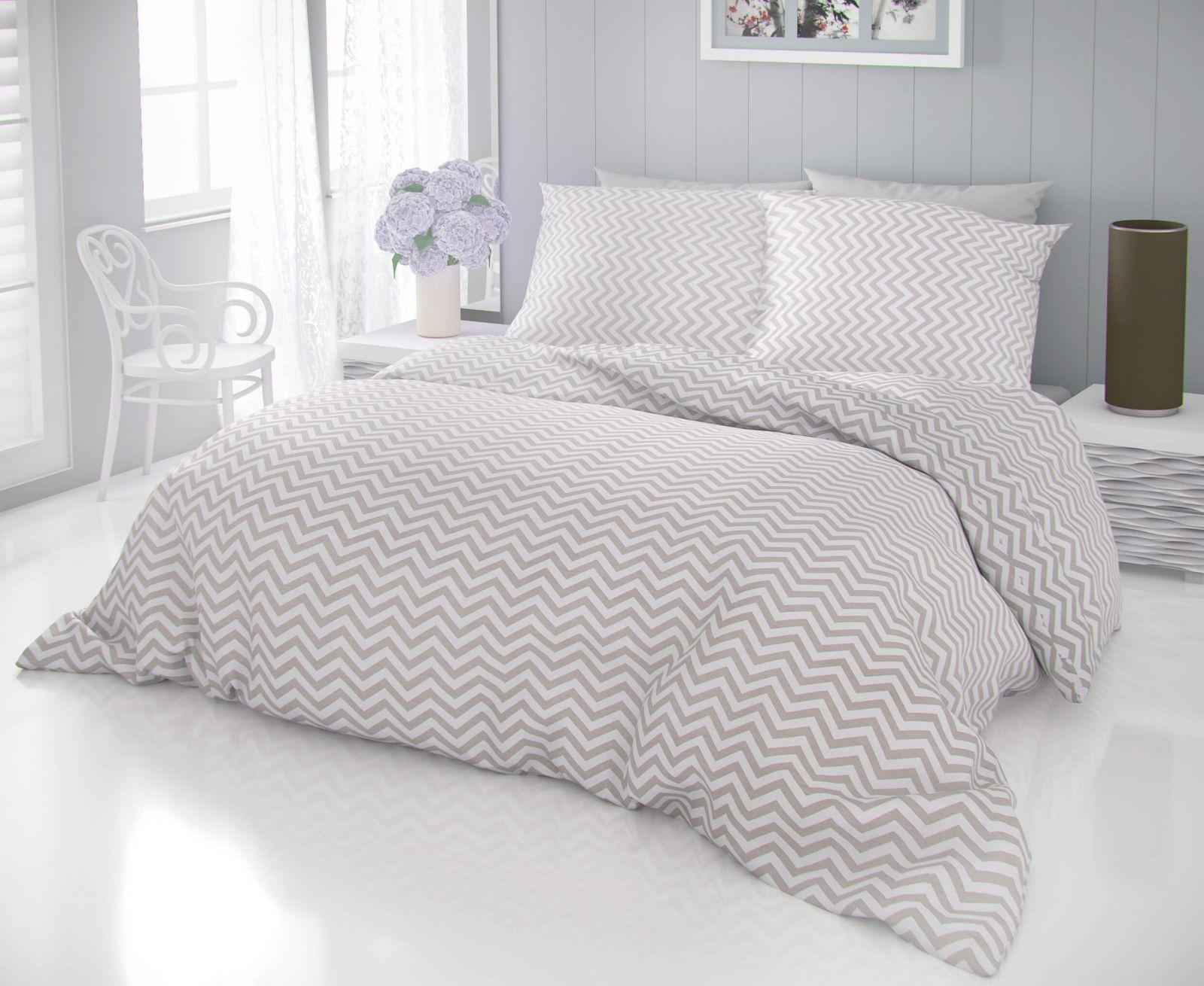 Kvalitní bavlněné povlečení s jednoduchým geometrickým tvarem bílé a béžové barvy DELUX CROSS béžové Kvalitex