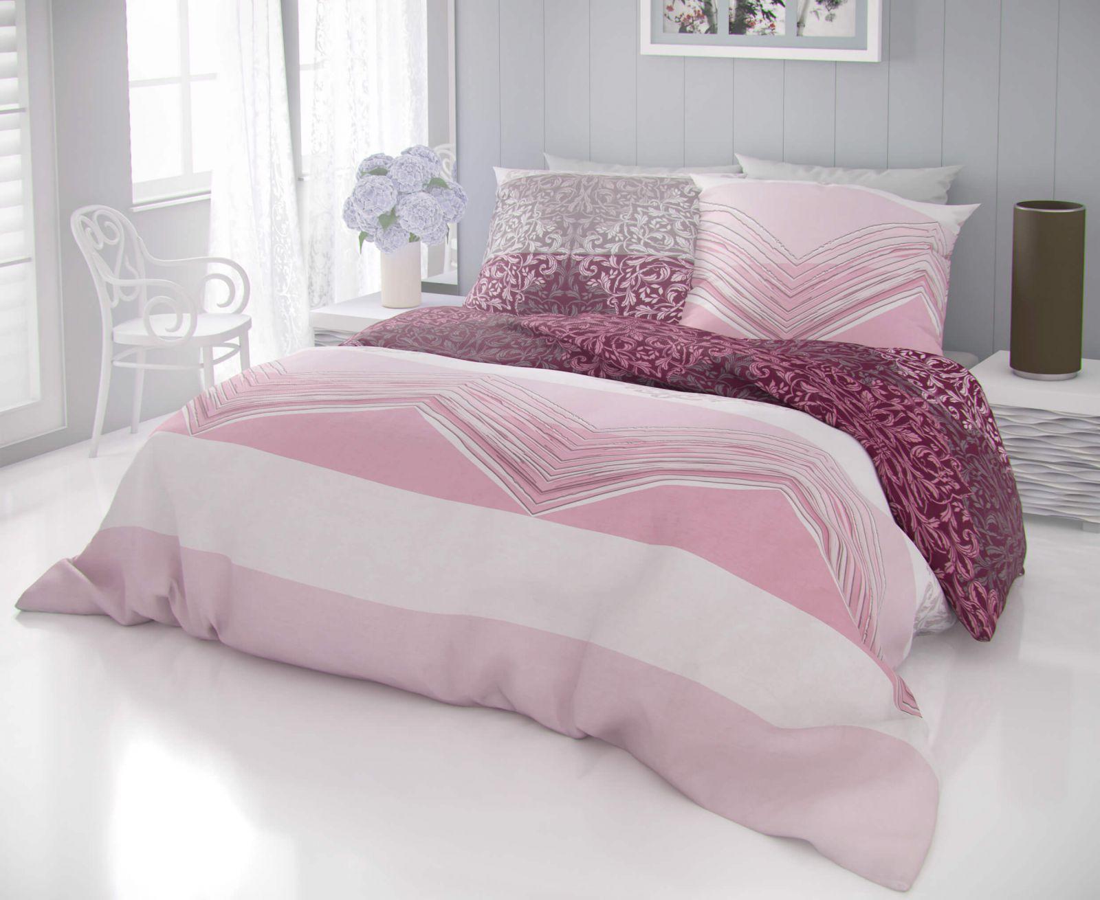 Kvalitní bavlněné povlečení s květinovými ornamenty a pruhy v růžových a béžových odstínech DELUX SIMON růžová Kvalitex