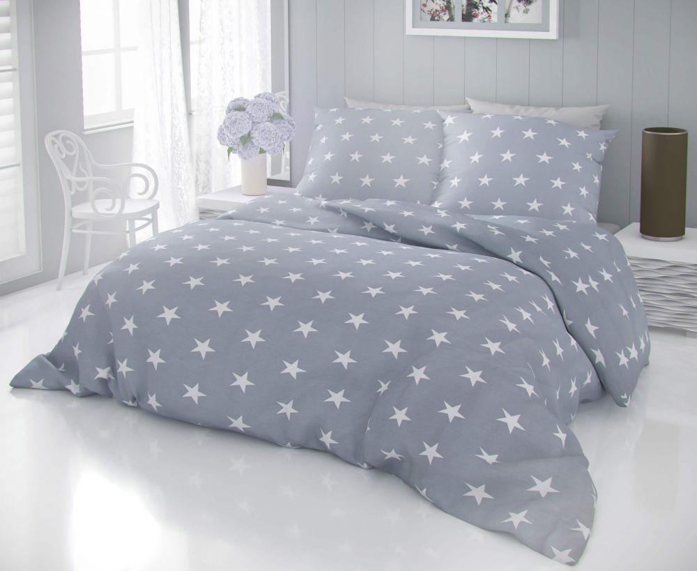 Kvalitní bavlněné povlečení s motivem bílých hvězd na šedém podkladu DELUX STARS šedé Kvalitex