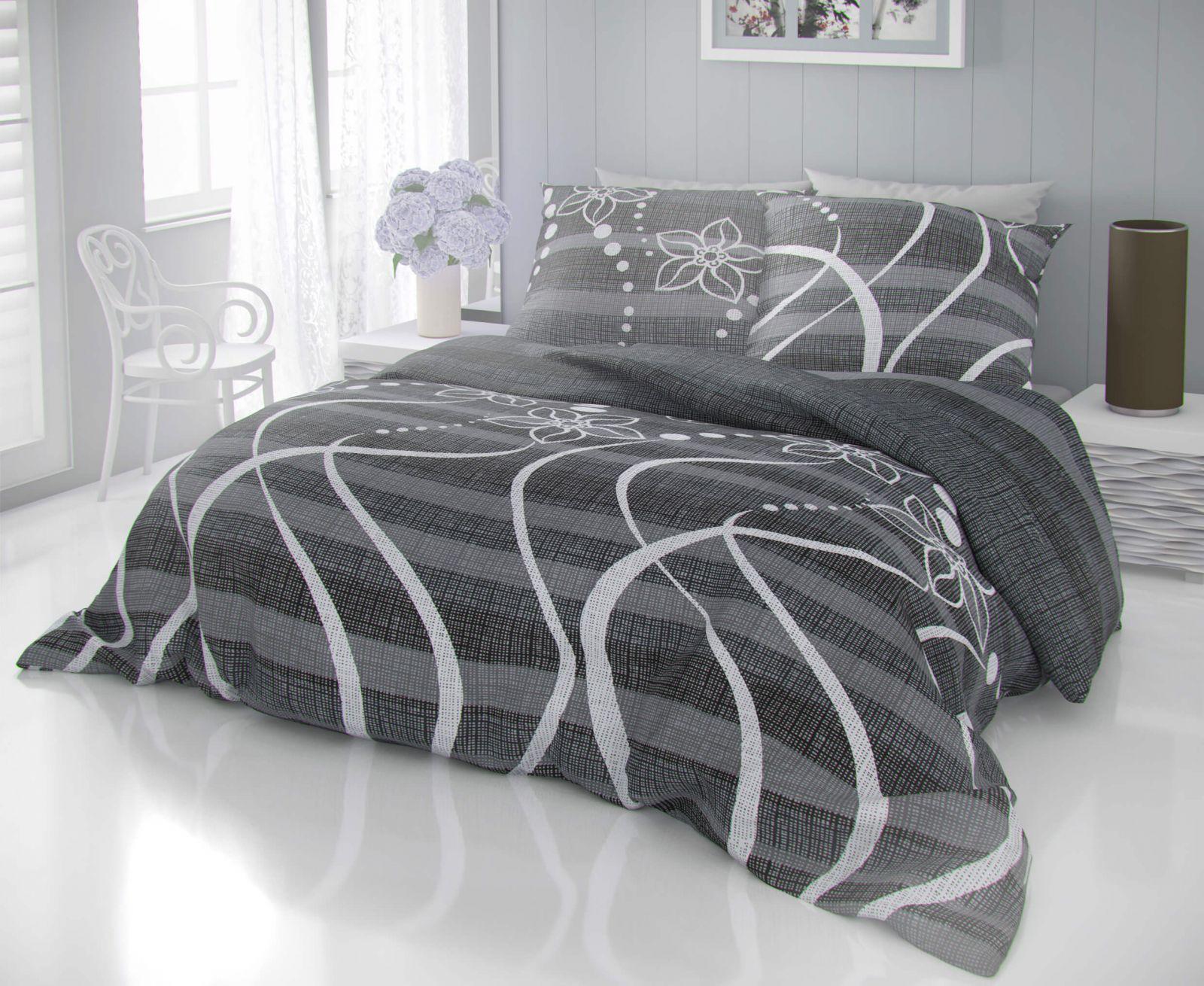 Kvalitní bavlněné povlečení šedých odstínů se vzorem puntíků a kytiček DELUX VALERY šedé Kvalitex