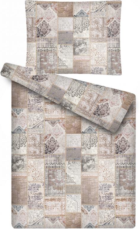 Luxusní povlečení z mikroflanelu u s mmotivem patchworku Antik hnědý