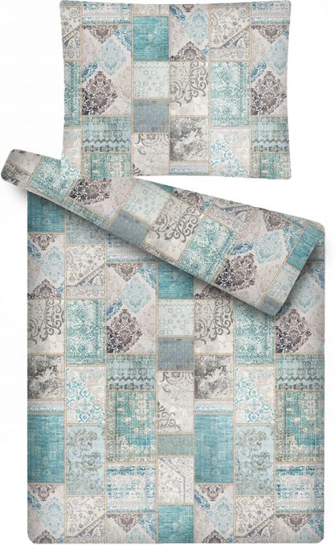 Luxusní povlečení z mikroflanelu s motivem šedo-modreho patchworku